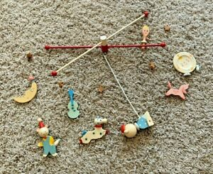 Vintage ORIGINALS BY IRMI Nursery Hand Painted Wooden Baby Crib Mobile Cow Moon