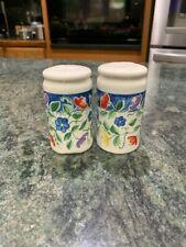 Vintage Salt and Pepper Shakers White Multicolor flower floral original stoppers