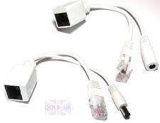 2-pcs IP Camera Power Over Ethernet Passive PoE Injector Splitter Cable RJ45 UK