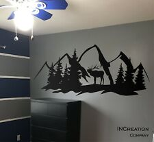 Forest Deer Mountains Wall Decal, Hunting Style Wall Decor Art Nature Wall Decal