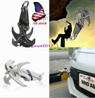 US Folding Survival Grappling Hook Climbing Claw Gravity Carabiner Traction Tool