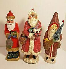 3 Santa Figurines w/Teena Flanner Midwest Cannon Falls Signed Santa Figurine