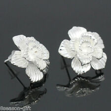 10 PCs Copper Earring Post Five-petaled Flowers Silver Plated 18mmx18mm