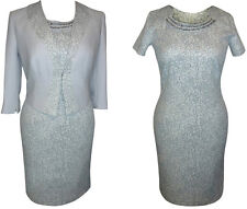 SILVER MOTHER OF THE BRIDE 2 PIECE FORMAL OUTFIT DRESS JACKET WEDDING SIZE 14