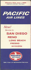 Pacific Air Lines system timetable 7/1/62 [8101]