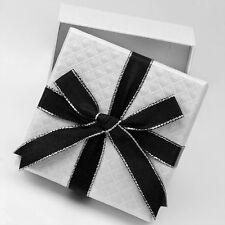 Small White Gift Box with Black Satin Bow - 3 1/4 W x  1 1/8 H - PK1000