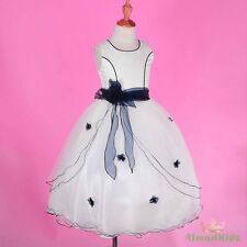Ivory Dark Blue Scoop Formal Flower Girl Dress Wedding Communion Party 8 #220A