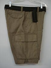 "NWOT Men's Famous Maker Belted Cargo Shorts Size 32""x 10"" Tan #27M"