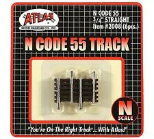 "ATL 2008 Atlas N Scale C55 3/4"" Straight Track 6 pack New Free Shipping"