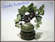 JADE BONSAÏ PLANTE RAISIN FORTUNA RARE VINTAGE ARBRE PIERRE DURE QUARZT TREE