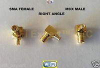1x RF Right Angle Male MCX to Female SMA Gold Plated Adapter ships from USA