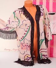 $124 VICTORIA'S SECRET Fringe Open Front Cotton-Silk Cover-Up Robe Caftan S NWT