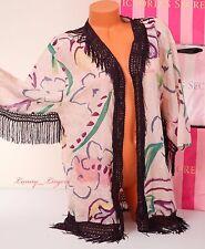 $124 NWT VICTORIA'S SECRET Fringe Open Front Cotton-Silk Cover-Up Robe Caftan S
