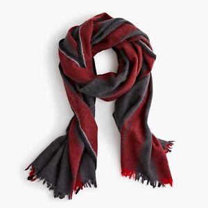 NWT J.CREW Wool-Blend Scarf in Heather Charcoal K2361 *alpaca stripe gray red