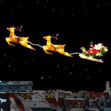 Xmas Weihnachten Fenster Silhouette Light Up Santa Schlitten mit Rentier Dekorat...