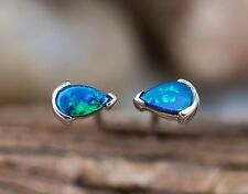 Small Natural Australian Doublet Opal Stud Stackable Earrings Sterling Silver