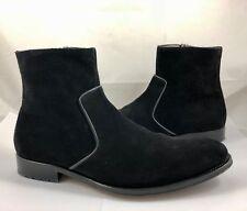 Mezlan Men's Size 13 Plain Toe Mini Lug Suede Leather Side Zip Ankle Boots $450