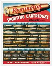 "Remington Rifle Cartridges Metal 16"" x 12"" Ammo Pistol Deer Hunting Man Cave Gun"