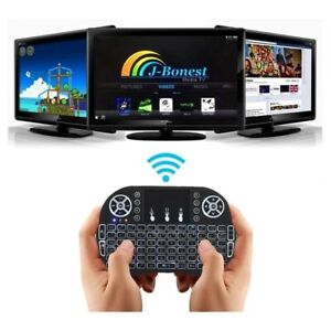 Wireless Mini Keyboard with Touchpad and Multimedia Keys - Rechargeable - LED