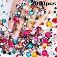 2000PCS Lots Women DIY Decor 3D Acrylic Nail Art Tips Gems Crystal Rhinestones