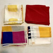 4 Scarves Oblong All 100% Silk Geometric Yellow Red White Vtg Scarf Lot