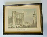 Antique Print The Cathedral  by W. H.Bartlett 1809-1854 Montreal CANADA