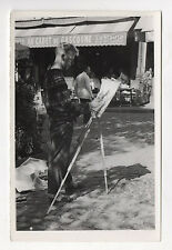 PHOTO ANCIENNE Peintre Peinture Butte Montmartre 1958 - Chevalet Artiste