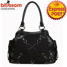 RKN105 Banned Pentagram Stand Still Black Bag Handbag Rockabilly Punk 50s Goth