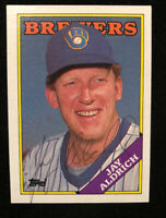 JAY ALDRICH 1988 TOPPS AUTOGRAPHED SIGNED AUTO BASEBALL CARD 616 BREWERS