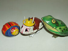 Vintage 1950's Japanese Tin Litho Toy Lot; Frog, Rabbit, Ladybug - Yone, BM, Etc