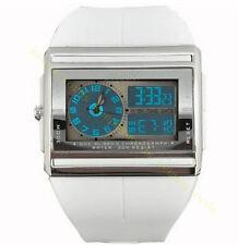 Ohsen Mens Water Resistant Square Case Stopwatch Sport Quartz Wrist Watch Gift White