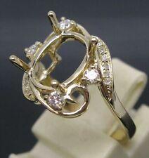 8x10MM Oval Cut 14K  Solid Yellow Gold Natural Full Cut Diamonds Ring Setting