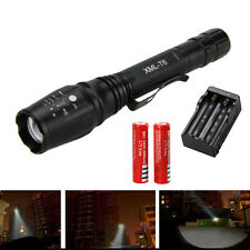 10000Lumen  Zoomable XM-L T6 Flashlight Torch Hunting Light Zoom 2x18650 Charger