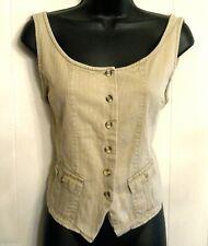Khaki Beige Cotton Vest Sleeveless Top Ten Star size Large Vtg Button Up Shirt