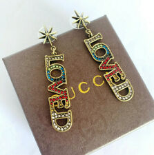 GUCCI Multicolored Crystal LOVED Antique Aged Gold Finish Earrings
