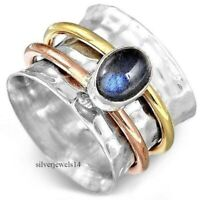 Labradorite 925 Sterling Silver Wide Band Spinner Ring Handmade Jewelry sg1