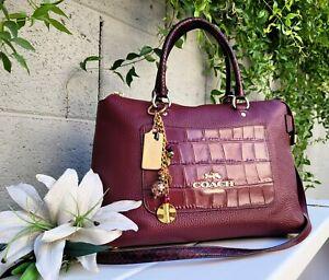 COACH EMMA 66886 exotic croc Satchel Crossbody Leather purse handbag tote bag