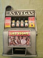 Vintage Metal Toy Slot Machine Bank Las Vegas Nevada