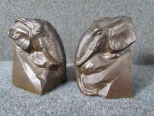 *Beautiful* Antique signed B.Johnson Bronze Elephant Bookends, Gorham Co.