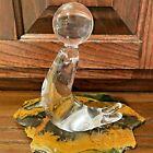 Vtg '60s Maleras Sweden Folke Walving Seal w/Ball Art Glass Figurine Paperweight