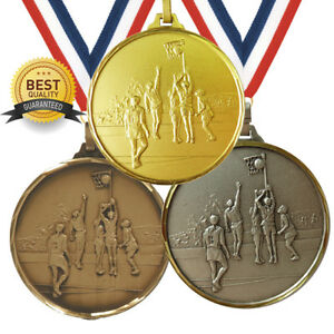 NETBALL BRASS MEDAL 52mm BEST QUALITY, FREE RIBBON, 3 COLOURS,