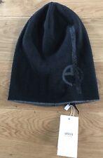 Armani Collezioni Mens Knit Rapper Maglia Logo Black Beanie Hat Med Italy New