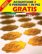 130 Etichette adesive bollini personalizzate - 36X19 MM - Colore Oro / Argento