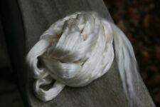 Bleached White Tussah Silk roving fiber spinning 4 pounds lb
