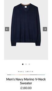 Paul Smith Men's Navy Merino V-Neck Sweater. S, L & XL Available.