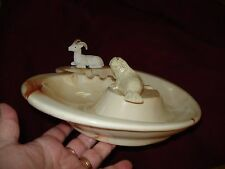 "Vtg Lg Swirl Painted Alaska  Clay Native Walrus & Dall Sheep Ashtray 11 x 9""x 2"