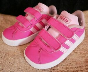 ADIDAS VL COURT 2.0 PINK SUEDE INFANT KIDS TRAINERS SHOES UK SIZE 5 K EURO 21