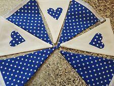 HANDMADE FABRIC BUNTING - ROYAL BLUE POLKA DOT AND WHITE WITH HEARTS