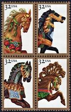 1995 32c Carousel Horses, Block of 4 Scott 2976-79 Mint F/VF NH
