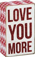 """LOVE YOU MORE Red Glitter Wooden Box Sign 3"""" x 5"""", Primitives by Kathy"""